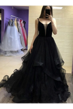 Exquisite Straps Black Tulle Long Prom Dresses, Black Evening Dress With Ruffles