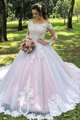 Ball Gown Princess Long Sleeves Illusion Neck A-Line Wedding Dresses With Appliques