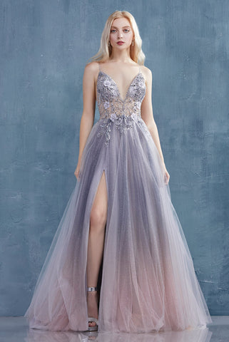 See Through Jeweled Glitter A-Line Prom Dress With High Slit Deep V Neck Long Formal SMEPX9EQ898