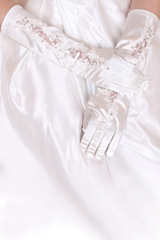 2021 Elastic Satin Elbow Length Bridal Gloves