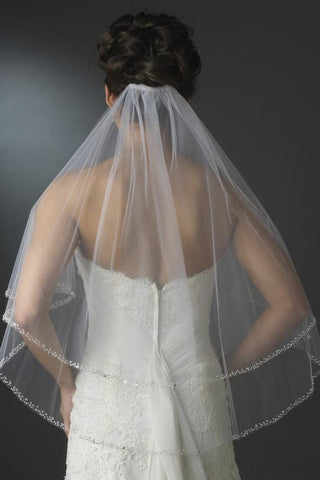 Two Layers Elbow Length Wedding Veil Beaded Edge SME0021
