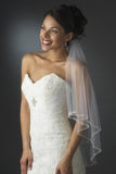 Two Layers Elbow Length Wedding Veil Beaded Edge JS0021
