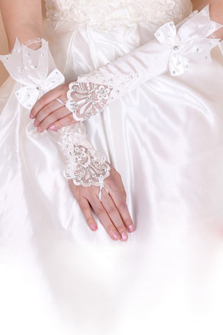 Elbow Length Elastic Satin Bridal Gloves With Appliques and Bowket #BG05