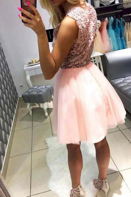 Pink Tulle V Neck Homecoming Dresses with Lace Short Straps Cocktail Party Dresses H1120