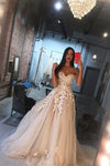 Princess A Line Sweetheart Tulle Lace Applique Ivory Wedding Dress Long Bridal Dresses JS921