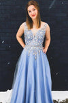 Princess Blue V Neck Tulle Long Prom Dresses Lace Appliques Straps Formal Dresses P1096