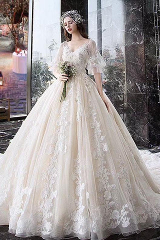 Princess Half Sleeve Ball Gown Wedding Dresses Appliques V Neck Bridal Dresses JS774