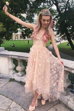 Elegant A Line Pink Backless High Low Spaghetti Straps Prom Homecoming Dress JS791