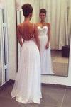 Spaghetti Straps Sweetheart Tulle Long Elegant Lace Cheap Backless Evening Wedding Dresses JS71