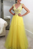 Yellow tulle sequins beading v-neck graduation dress prom dress