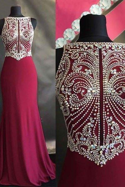 Red chiffon beading round neck slim-line long dress evening dresses