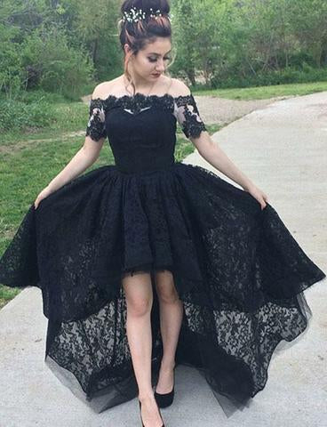Vintage A-Line Off the Shoulder Black Lace High Low Short Sleeve Prom Homecoming Dresses JS80