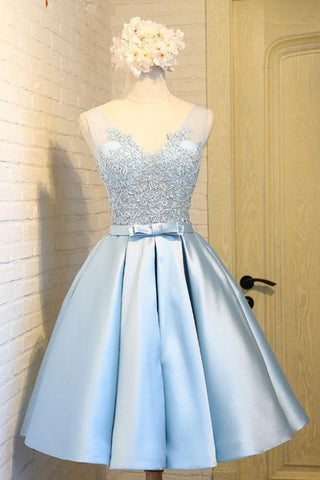 Sky Blue A-Line V-Neck Short Prom Dresses Appliques Lace Homecoming Dresses JS568