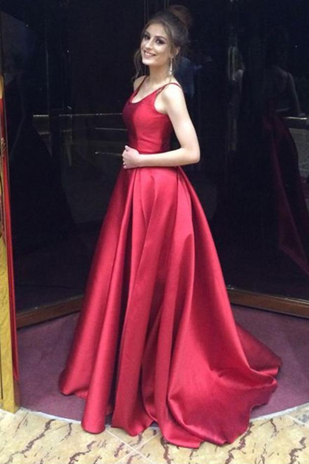 Red A-Line Long Simple Satin Open Back Sleeveless Evening Dress Prom Dresses UK JS507