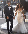 Ivory Lace Mermaid Off the Shoulder Sweetheart Appliques Wedding Dresses JS304