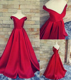 Simple Ball Gown Off The Shoulder Sweetheart Red Satin Fitted Corset Prom Dresses JS157