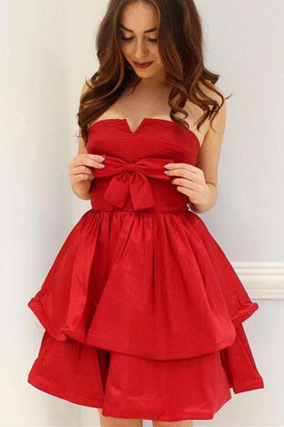 Red A-Line Strapless Bowknot Short Prom Dress Satin Party Dress Homecoming Dresses H1246
