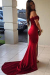 Red Mermaid Off the Shoulder Split Prom Dresses with V Neck Long Evening Dresses JS907