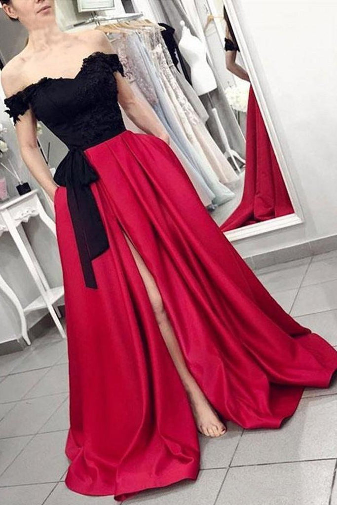 Red Off the Shoulder Satin Black Appliques V Neck Prom Dresses with Split Pockets JS646