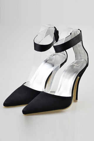 Comfortable Handmade Black Ankle Strap Simple Women Shoes For Prom SME0006