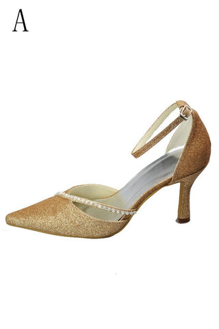 Gorgeous Sequin Shiny Pointed Toe Ankle Strap Shoes For Prom JS0009