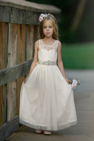Sale Bohemian Tulle Scoop Neck Flower Girl Dresses