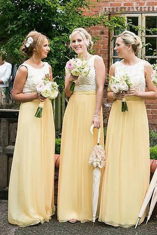 Elegant A-Line Princess Yellow High Neck Sleeveless Chiffon Prom Bridesmaid Dresses JS510