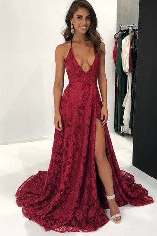 Sexy Lace Deep V Neck Side Slit A Line Long Backless Halter Burgundy Prom Dresses SME899
