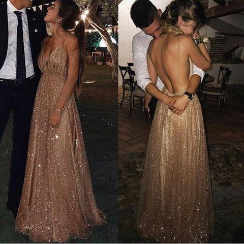Sexy A-line Spaghetti Straps Deep V-neck Sexy Backless Sequins Prom Party Dresses JS783