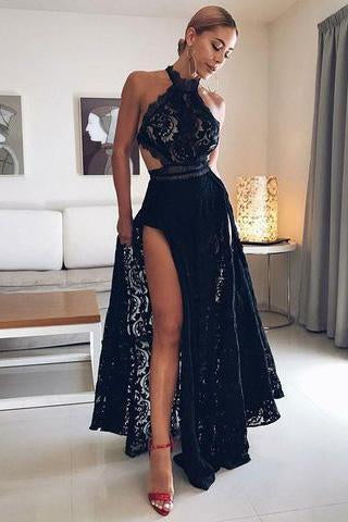 Sexy Black Lace High Split Prom Dresses Halter Floor Length Long Evening Dresses JS616