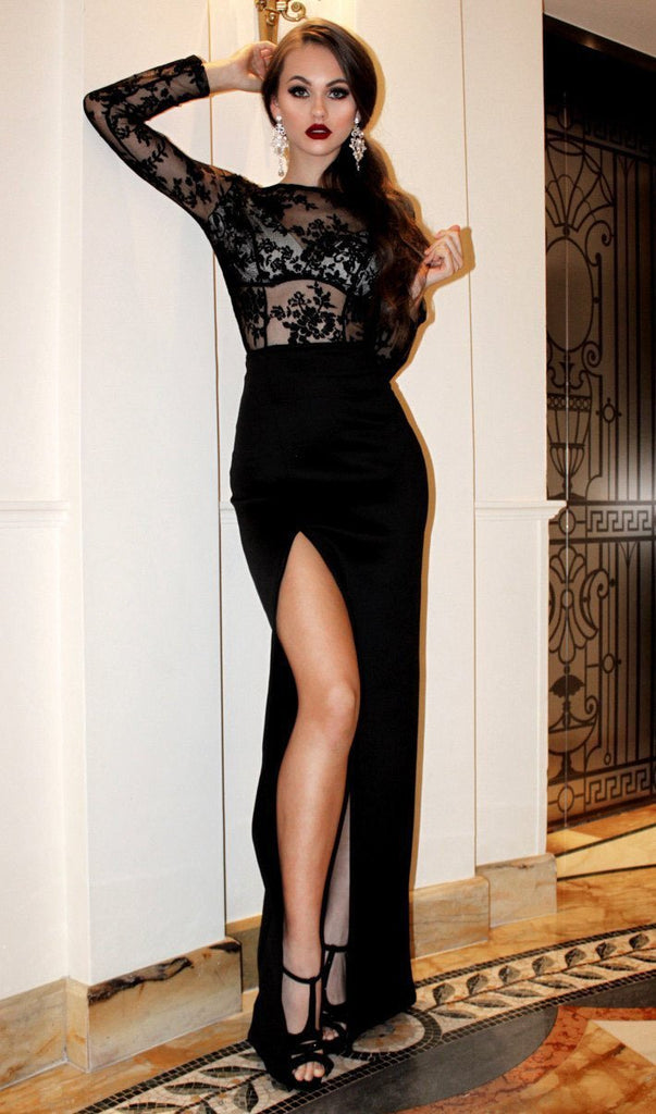 Sexy Mermaid Black Long Sleeve High Slit Prom Dresses Lace Satin Party Dresses JS357