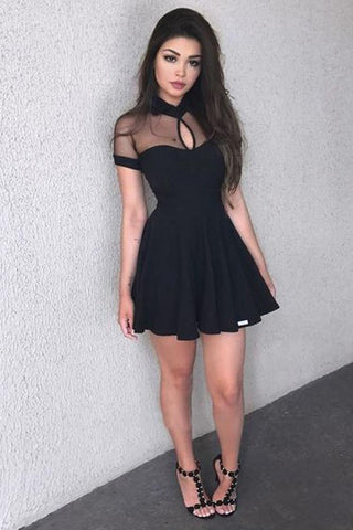 Sexy Short Sleeve Black High Neck Homecoming Dresses Short Prom Dresses with Chiffon H1092
