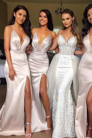 Sexy Slit Mermaid Bridesmaid Dresses Spaghetti Straps Long Wedding Party Dresses SME498