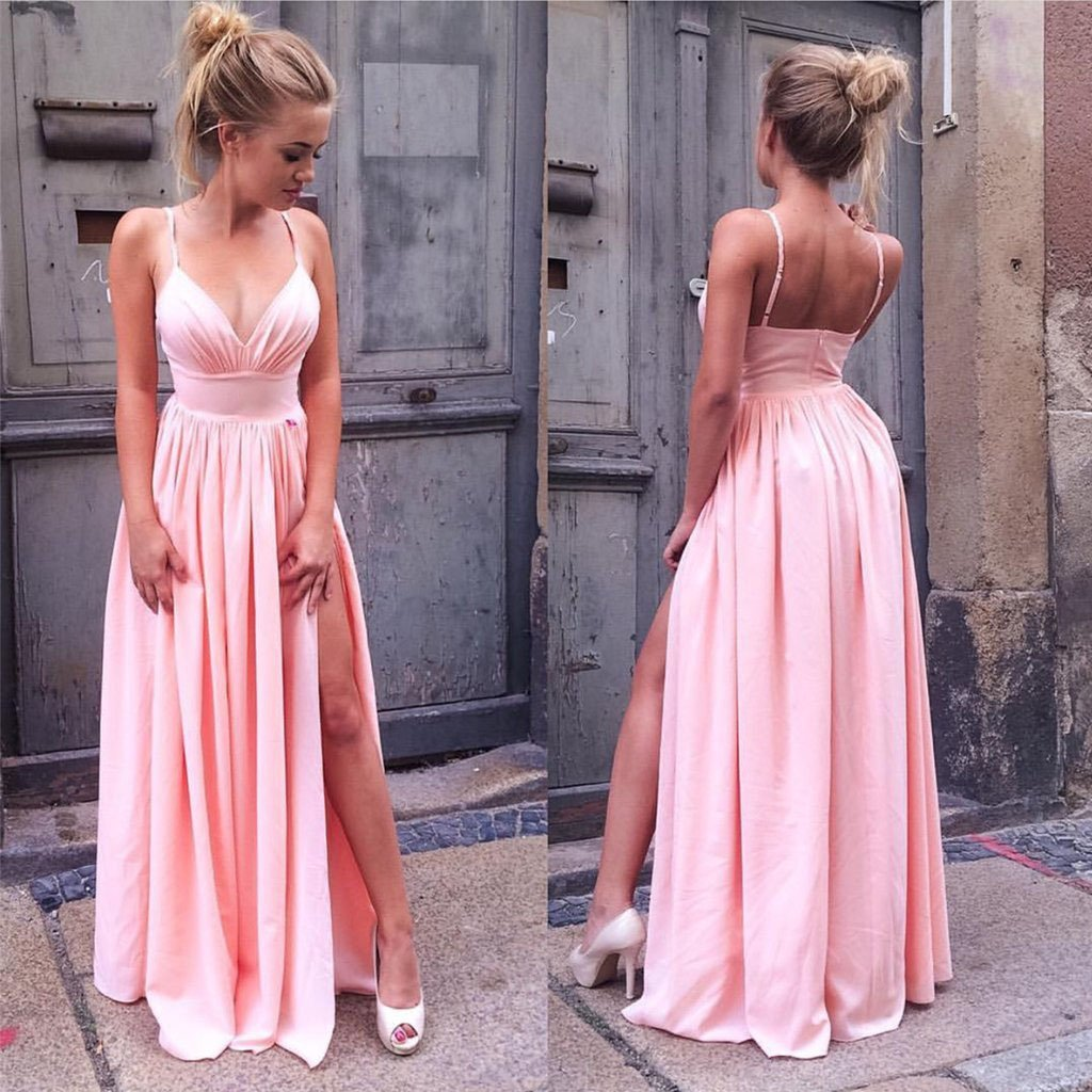 Sexy V Neck Prom Dresses Pink Spaghetti Straps Ruffles Floor Length Party Dresses with Slit P1047