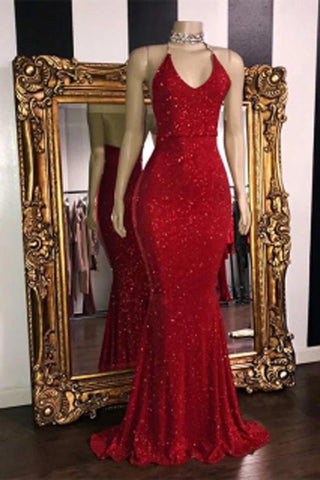 Sexy V Neck Red Glitter Sequins Prom Dresses Mermaid Halter Backless Evening Gowns P1143