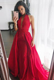 Sheath Halter Sweep Train Pleated Red Satin Prom Dress Sleeveless V Neck Party Dress JS482