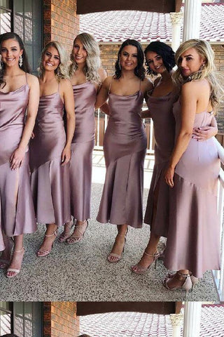 Sheath Spaghetti Straps Tea Length Lilac Bridesmaid Dress With Split Prom Dresses SME919