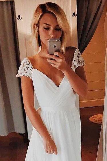 Simple A Line Chiffon Wedding Dresses Cap Sleeve V Neck Bohemian Beach Bridal Gowns SME1038