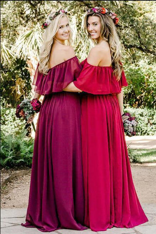 Simple A line Chiffon Red Off the Shoulder Flowy Bridesmaid Dresses Prom Dresses JS806