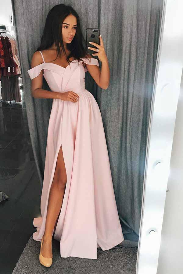 Simple Cold Shoulder Red Satin Straps Prom Dresses A Line with Split Evening Dresses SME668
