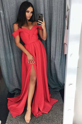 Simple Cold Shoulder Red Satin Straps Prom Dresses A Line with Split Evening Dresses JS668