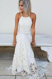 Simple Halter Mermaid Lace Appliques Wedding Dress Backless Beach Bridal Gowns JS937