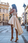 Simple High Low V Neck Lace Satin Homecoming Dresses Straps Short Cocktail Dresses H1176