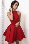 Simple Red Halter Satin Homecoming Dresses Above Knee Sleeveless Cocktail Dresses H1069