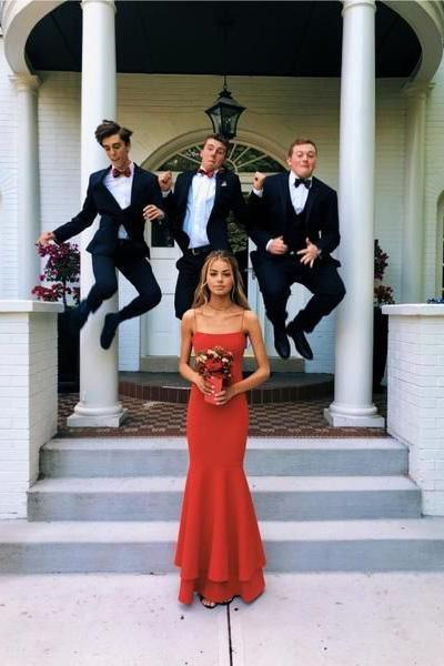 Simple Spaghetti Straps Red Mermaid Prom Dresses Red Thin Straps Formal Dresses JS928