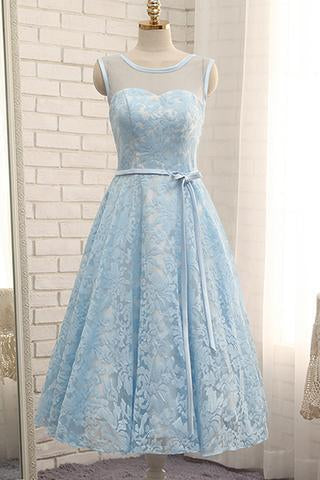 Simple Tea Length Light Blue Lace Homecoming Dress with Belt Short Prom Dress H1042