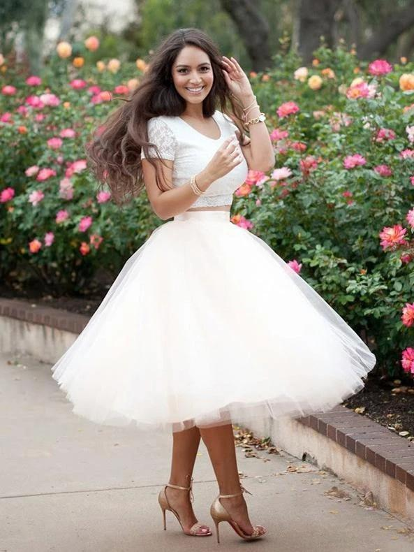 Simple Two Pieces Round Neck Ivory Short Prom Dress with Lace Homecoming Dresses H1155