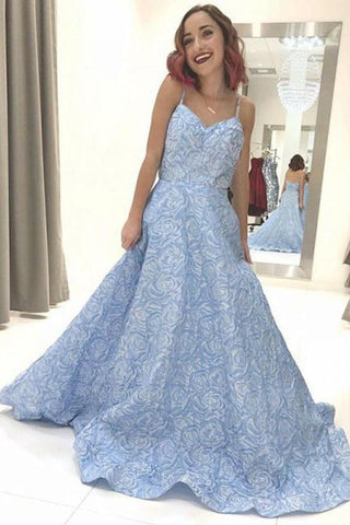 Sky Blue Floral Spaghetti Straps Prom Dresses Lace Appliques Backless Evening Dress SME608