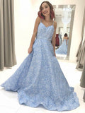 Sky Blue Floral Spaghetti Straps Prom Dresses Lace Appliques Backless Evening Dress JS608