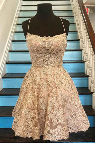 Spaghetti Strap Vintage Gold Lace Applique Criss Cross Short Homecoming Dresses JS765